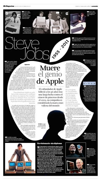 This is a very interesting newspaper layout because the main idea starts in the center and then branches off from there. The white apple, and dark background creates a great contrasting look. Also the shaping of the article to fit the apple outline looks professional.