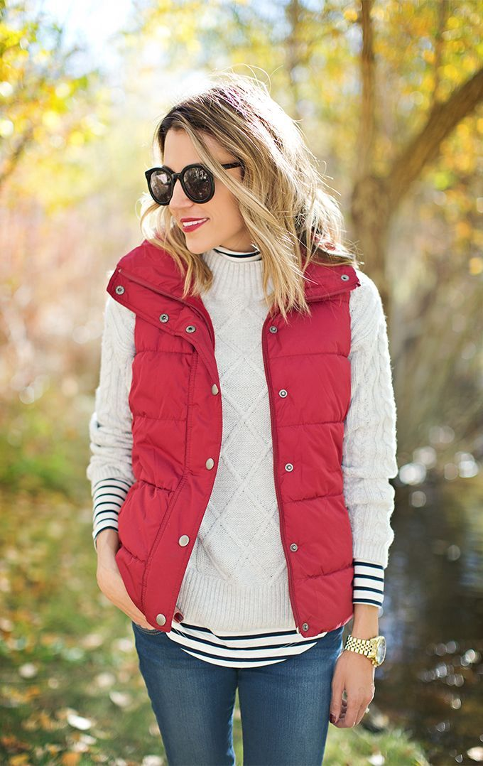 red vest over sweater