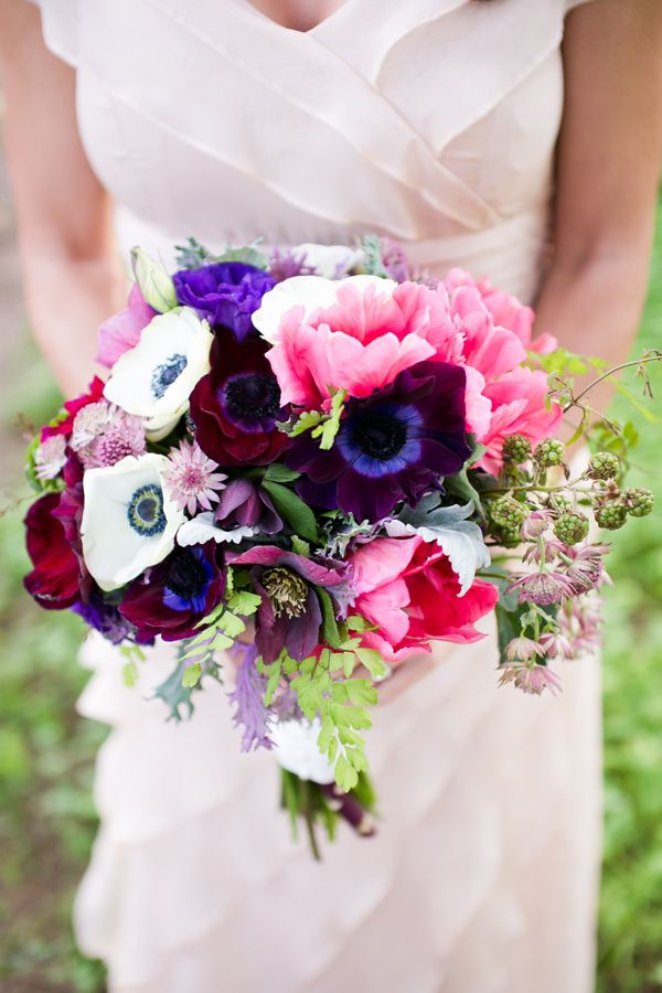 colorful pink + purple wedding bouquet // photo by Kaysha Weiner // flowers by Florals by Jenny