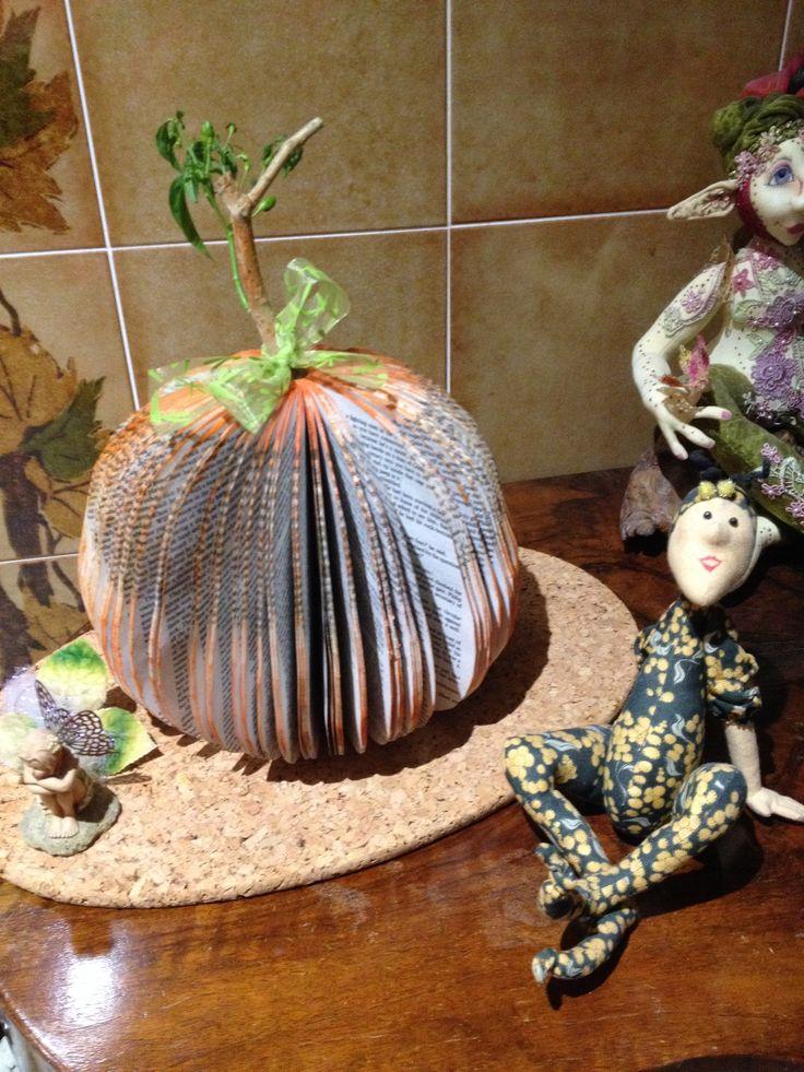 pumpkin altered book art