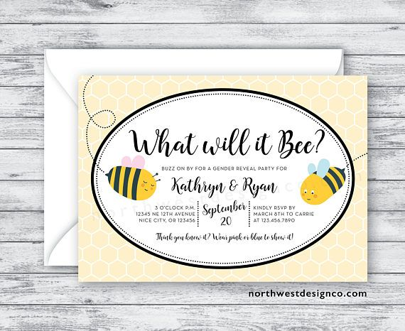 What Will It Bee Gender Reveal Party Invitation Black Yellow