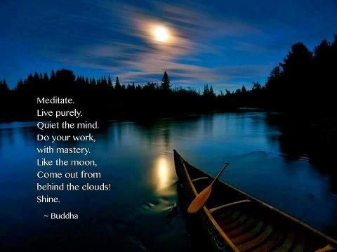 #Meditate. Live purely Quiet the mind. Do your work with mastery. Like the #moon, come out from behind the clouds. #Shine!  - Buddha