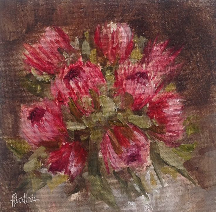 """""""Bunch of proteas #540"""" daily painting by Heidi Shedlock"""