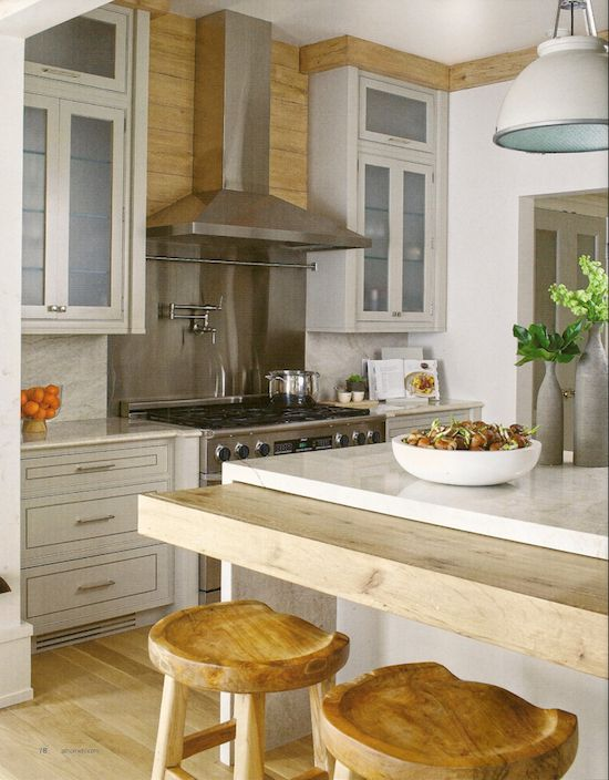 rustic woods, waterfall island with pull-out counter