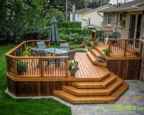 Awesome Two Level Deck Designs Ideas (Entrance Step Design)