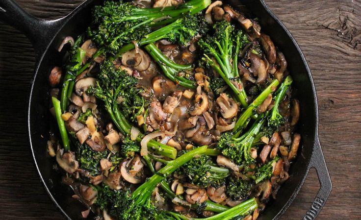Broccolini y champiñones salteados – Reto VIVRI