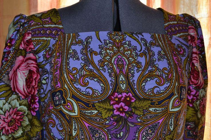 """Купить Платье из платка """"Счастливица"""". - цветочный, платье из платка, одежда из платка, платье из платков"""