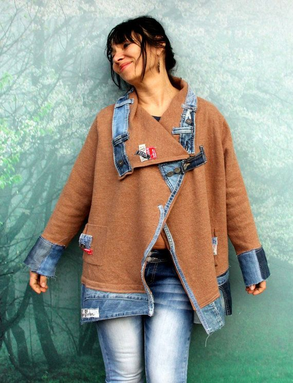 Crazy denim and wool sweater street style patchwork denim recycled jacket. Made from recycled scraps of denim jeans and wool sweater. For free people. Unique design. One of a kind. Size: M-XL (european 38-42) Free size! Bust line even 47 inches (120 cm) Waist and hips free! Length is about 29-31 inches (74-79 cm) Hand wash in cold water, pure wool