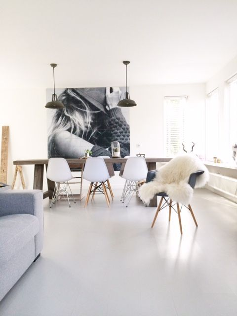 large scale art, cozy and light dining and living room.