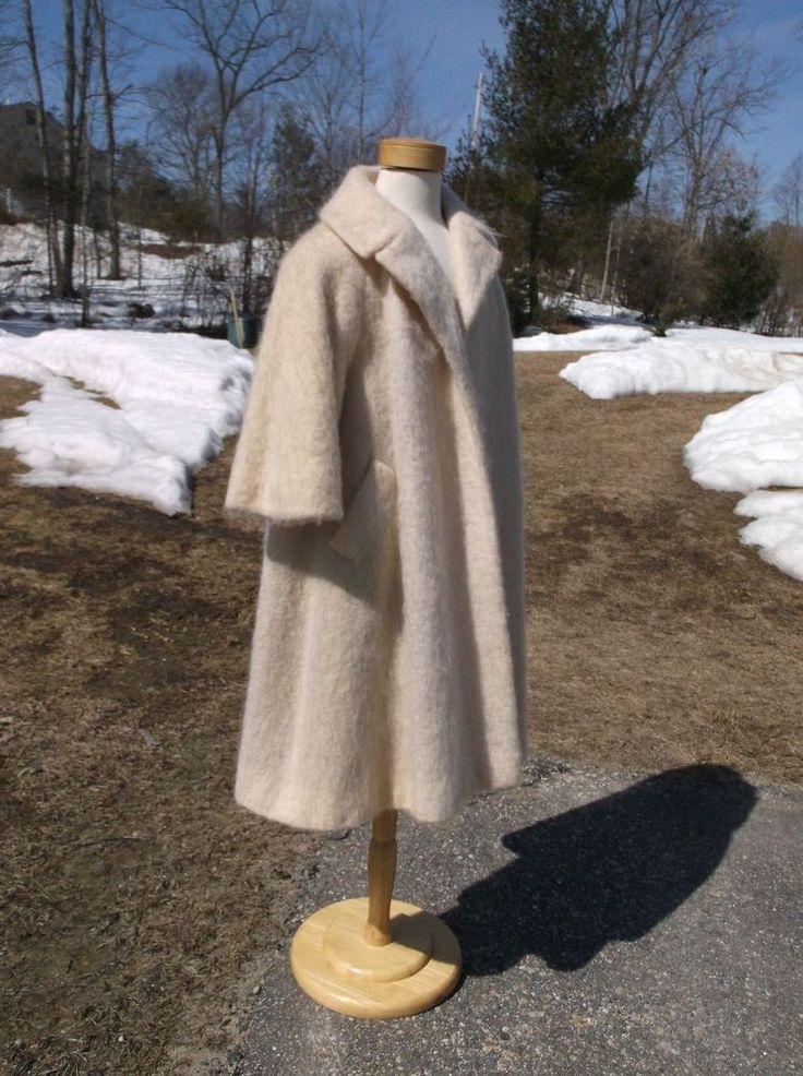 Lilli Ann Winter White Mohair Fabric Dress Coat/XL/Plus Size Swing/1940s/50s. #LilliAnn