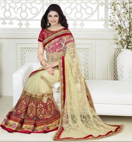 Cream and Red Color Net Designer Sarees : Festive Aroma Collection YF-20863