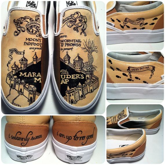 These are a pair of hand painted Vans shoes inspired by the Marauders Map in Harry Potter and the Prisoner of Azkaban. These shoes were commissioned
