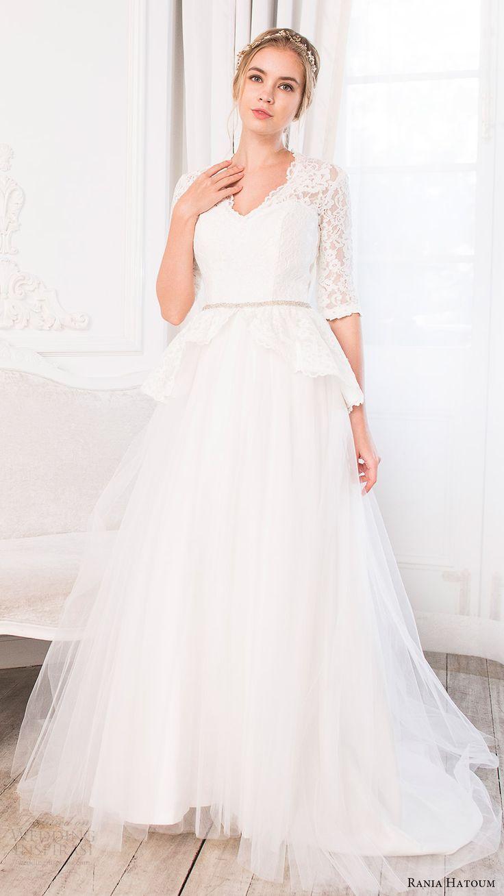 rania hatoum bridal spring 2017 3 quarter sleeve lace peplum bodice v neck ball gown wedding dress (serena) mv