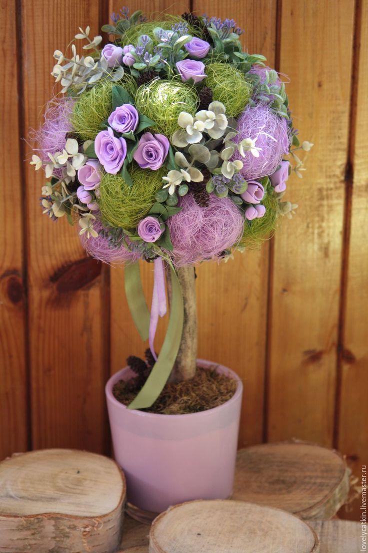 Купить сиреневые мечты - сиреневый, зеленый, декоративное дерево, топиарий, цветы из полимерной глины, мечты