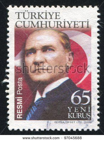 TURKEY - CIRCA 2008: stamp printed by Turkey, shows president Kemal Ataturk, circa 2008. - stock photo