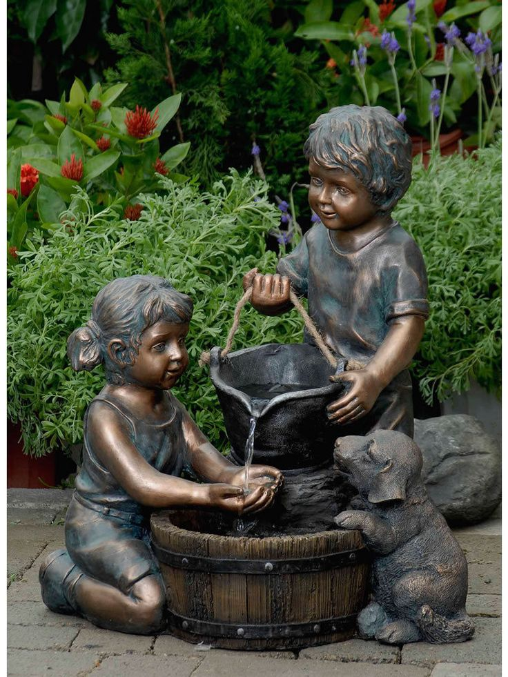 Order Jeco Two Kids and Dog Outdoor Water Fountain from Yardify. Free Shipping & Insurance on all of our Fountain SKU # FCL066. Order today from Yardify.com!