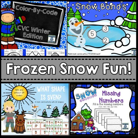Frozen Math Packet, includes SNOW bonds (snowball number bonds), Color-By-Code CVC words, What Shape is Sven?, and Missing numbers.  Teaching Momster