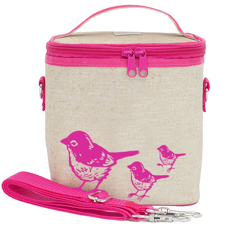 RAW LINEN - Pink Birds Small Cooler Bag