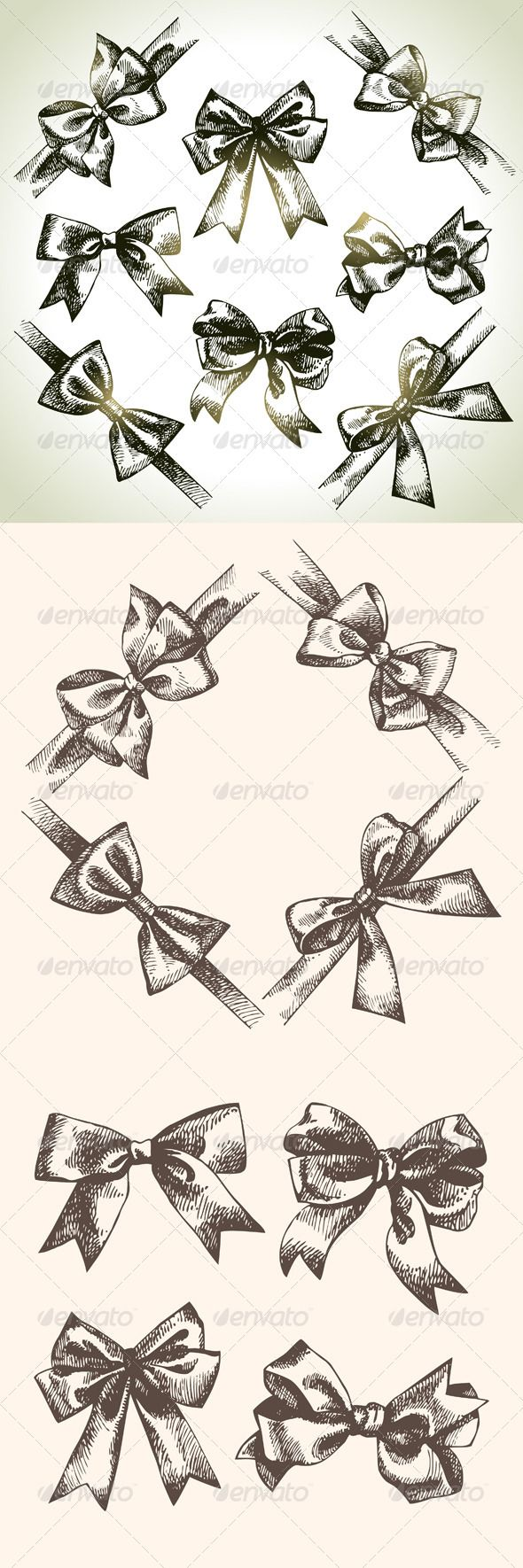 Hand Drawn Bow Set  #GraphicRiver         Set of hand drawn vintage bow and ribbon illustrations.  	 This illustrations can be used in design of printed materials (brochures, invitations, postcards), scrapbooking, web design etc.  	 Zip file contains fully editable EPS 10 vector file, AI CS vector file, high resolution JPG & PNG transparent format files.     Created: 28June13