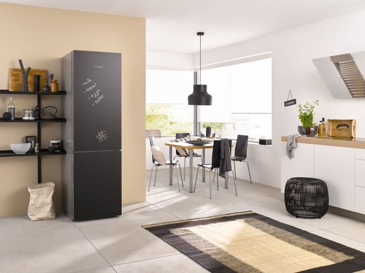 The Miele KFN 29233 D bb XL freestanding fridge freezer  in exclusive Blackboard edition with DailyFresh and Frost free is the perfect addition to a family kitchen, offering a fun and practical space to keep track of family activities #kitchendesign