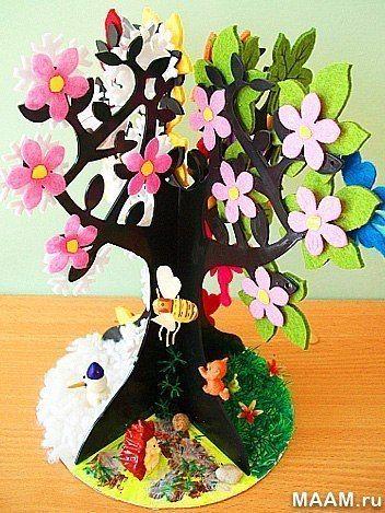 Дерево из фетра - времена года - весна