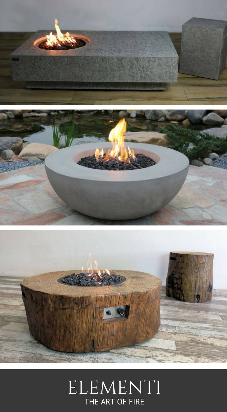 Fire Pits By Elementi Are Handcrafted From Cast Concrete And Eco Stone Plus Easy To Operate Visit Authenteak Com In 2020 Gas Firepit Fire Pit Backyard Backyard Fire