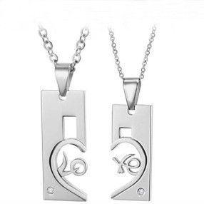$21,16 Exclusive pair stainless steel pendant + necklace pairing for lovers. Exclusive pairing stainless steel pendant + necklace combination for lovers. BEST PRICE: Directly in the jewelry factory. VAT-free shopping: Available, partners based in the European Union, only applies to EU tax identification number (UID). Exclusive design pairing stainless steel pendant & necklaces for couples and lovers.