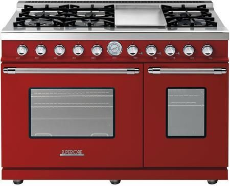 """RD482GCRC 48"""" DECO Series Freestanding Natural Gas Range with 6 Sealed Burners 2 Gas Ovens Electric Griddle and Convection in Red Matte wtih Chrome Accent"""