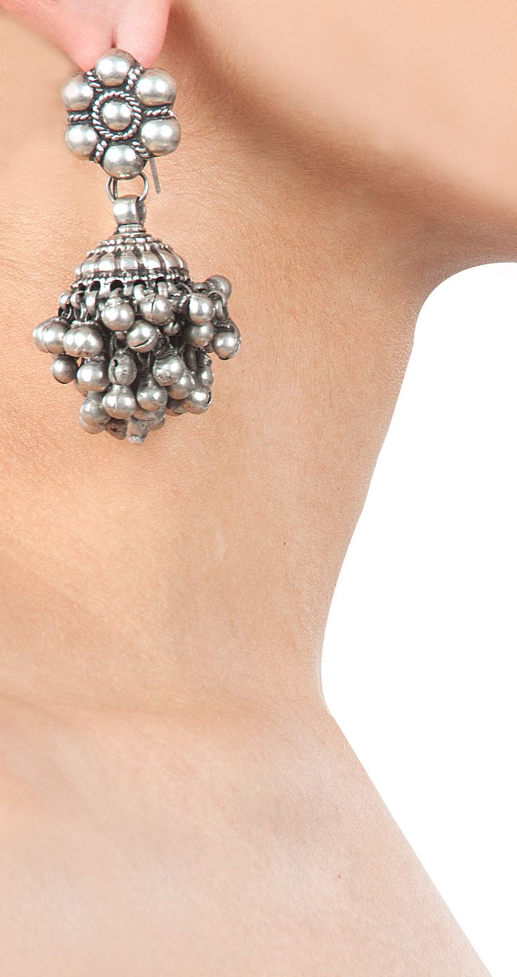 Silver flower head jhumki available only at Pernia's Pop-Up Shop.