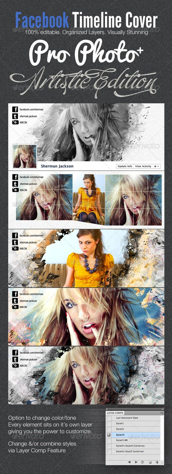 Visually Stunning Facebook covers – ProPhoto 2 + Artistic Facebook Timeline Cover Templates. http://startupstacks.com/print-templates/prophoto-artistic-facebook-timeline-cover-template.html - free download