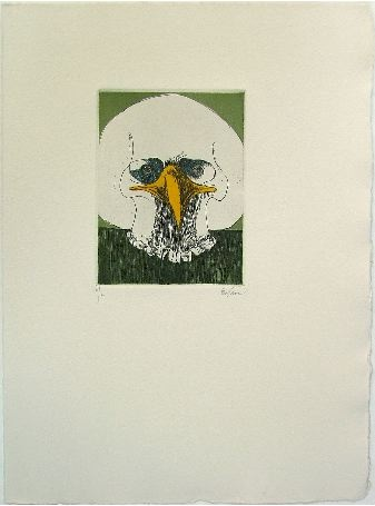 """Leonard Baskin. Untitled (Beaked Skull). 1991. Etching in four colors on cream wove paper. Signed, lower right and numbered v/v, lower left. 4 7/8"""" x 3 3/4"""" (12.4 x 9.5 cm). From the Roman numeral edition of five impressions outside the book edition published in Grotesques (Gehenna Press, 2001). Rare. No edition. Copyright © The Estate of Leonard Baskin, courtesy Galerie St. Etienne, NY."""