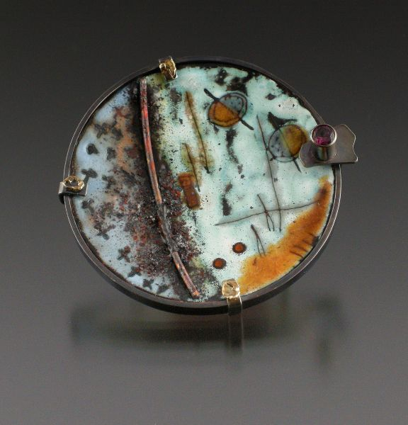 Brooch | Anne Havel. Vitreous enamel on copper, 14kt gold, rust, firescale, fine & sterling silver, copper, garnet