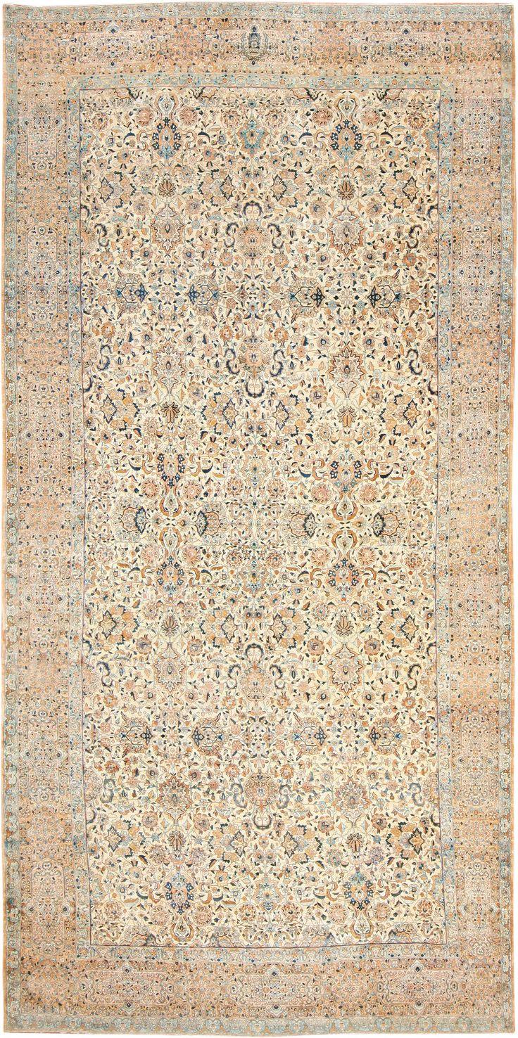 Antique Persian Kerman Rug Country Of Origin Type Rugs Circa Date 1920 13 Ft 8 In X 25 9 M