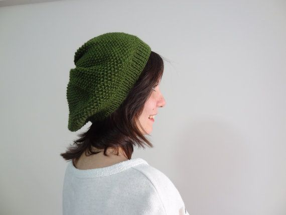 Olive Green Hat BeanieKnit Beanie Hand Knitted by SwomanStore