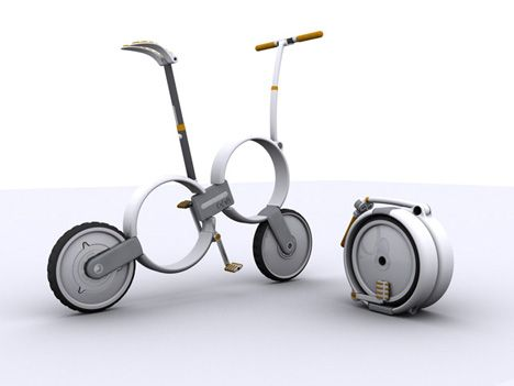 'One' Folding Bicycle by Thomas Owen/Yanko Design.  It has a power assist system. I love my Brompton, but this bike reminds me of Tron!