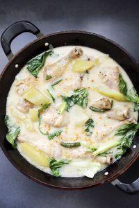 Ginataang Manok - #Filipino dish [chicken legs and thighs, green papaya, cocnut milk, cocnut cream, bok choy, garlic, ginger, green chillies]