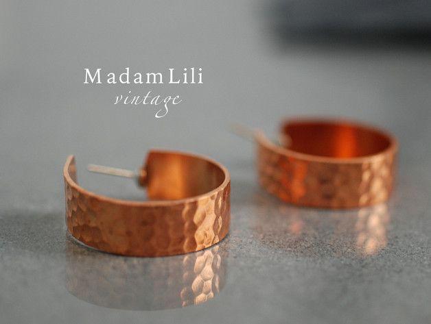 CREOLEN miedziane kolczyki lata 70-te ♥ - madamlili - Kolczyki krótkie