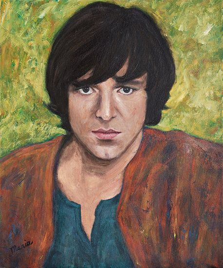 Portrait of Ramses Shaffy. Oil painting, sold.