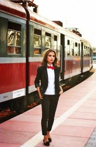 Red bow tie, white shirt, black pant suit. Learn more about how to wear a bow tie >>> http://justbestylish.com/9-tips-how-to-wear-a-bow-tie-for-women/