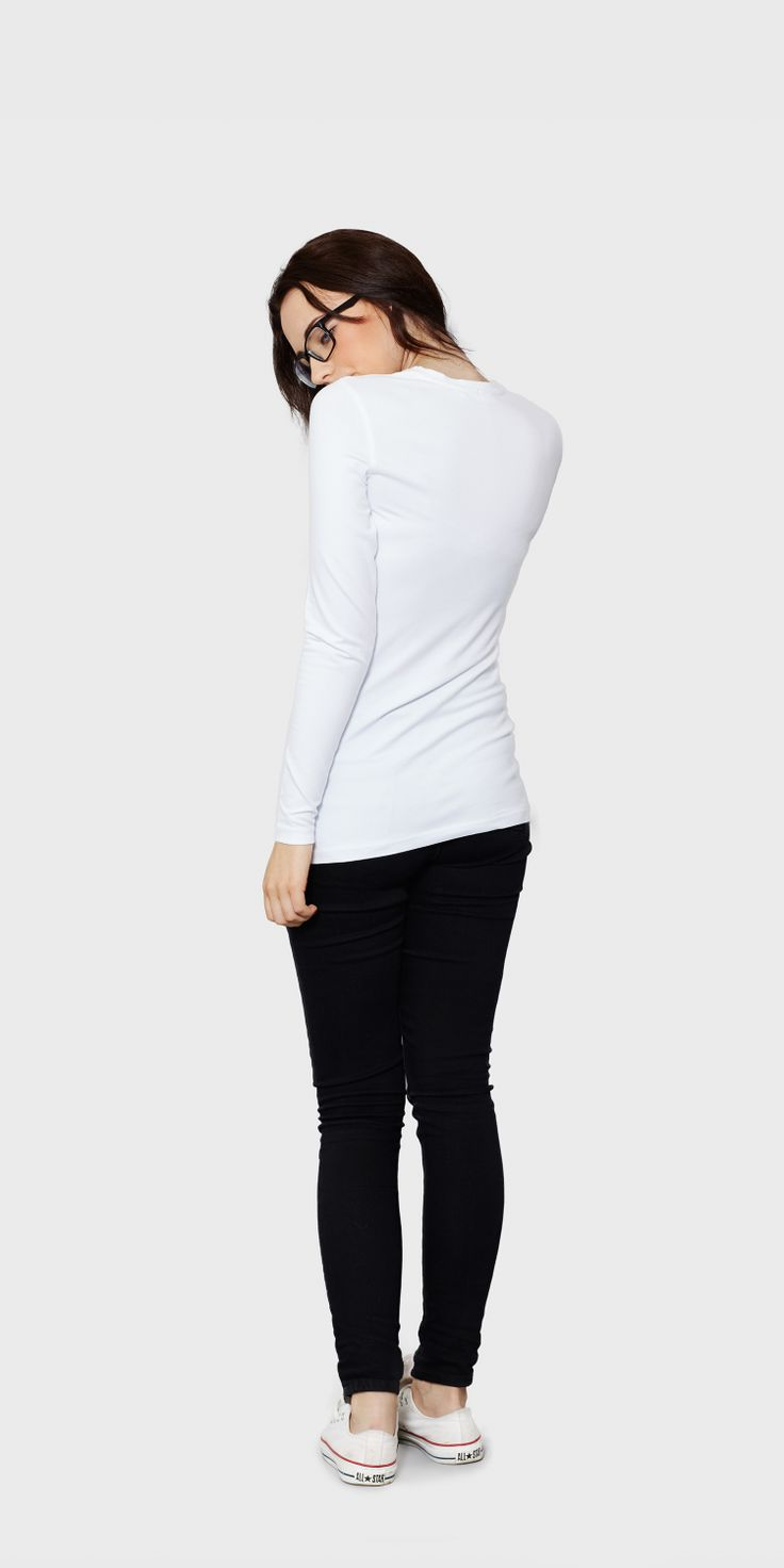 White t shirt company - Women S White Long Sleeved Round Neck T Shirt Back View The White T