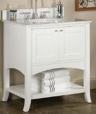 Web Image Gallery Will have to size to fit Lowes pull out shelf thing Fairmont Designs Shaker Transitional Polar White Bathroom Vanity w Open Shelf
