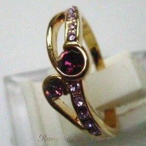 10K Yellow GF CZ Amethyst Ring 7.5US