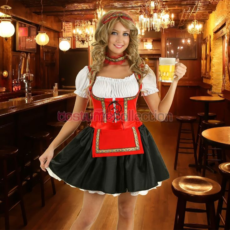 Adult Oktoberfest Costume Red German Bar Maid