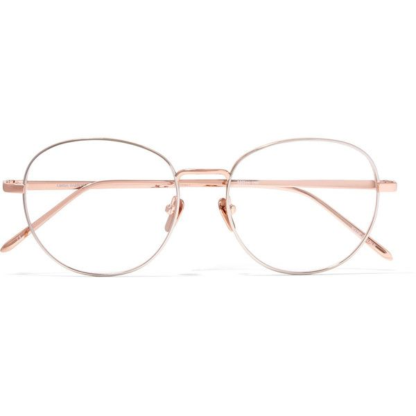 Linda Farrow Round-frame rose gold-tone optical glasses ($665) ❤ liked on Polyvore featuring accessories, eyewear, eyeglasses, glasses, rose gold, lightweight glasses, square glasses, linda farrow, linda farrow eyewear and lens glasses