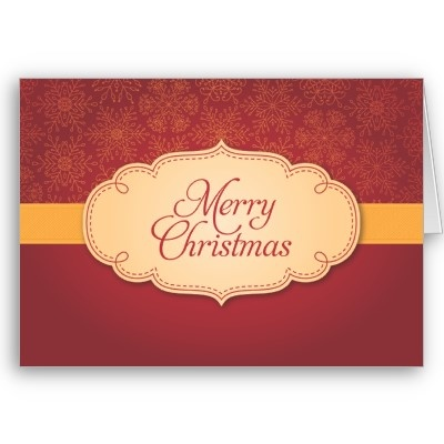 Red Merry Christmas snowflake card