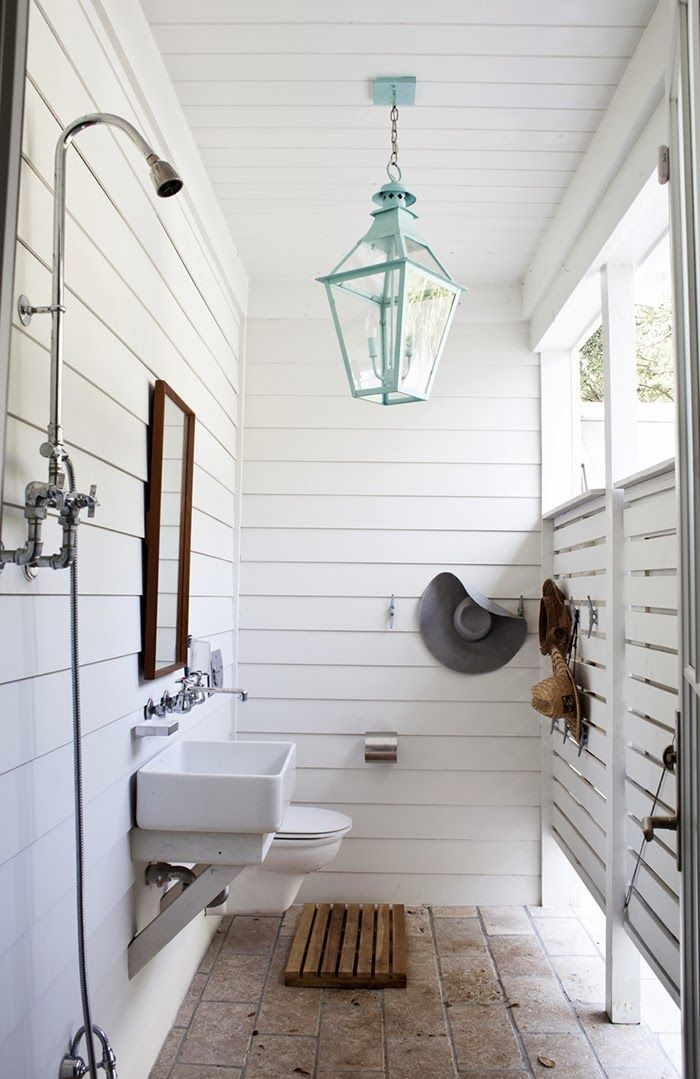 Outdoor bathroom and shower Great lighting and