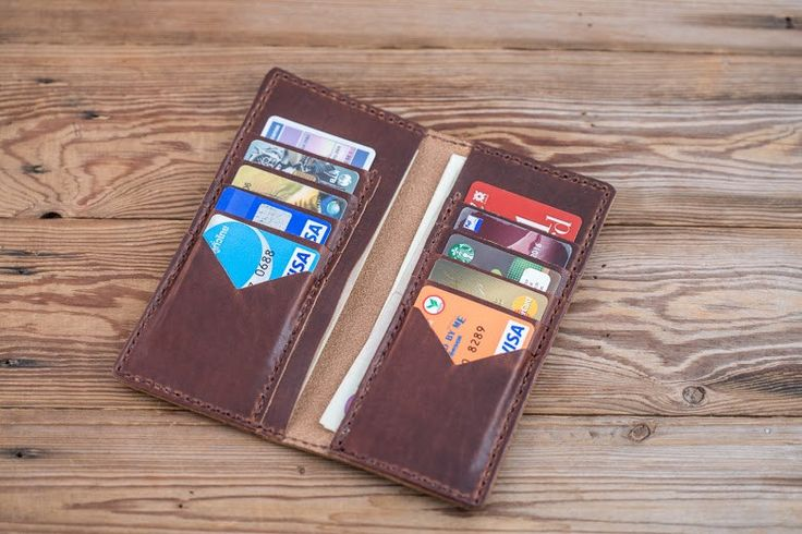 Leather Long Wallet Dark Brown Horween Dublin Leather by ORTHROS
