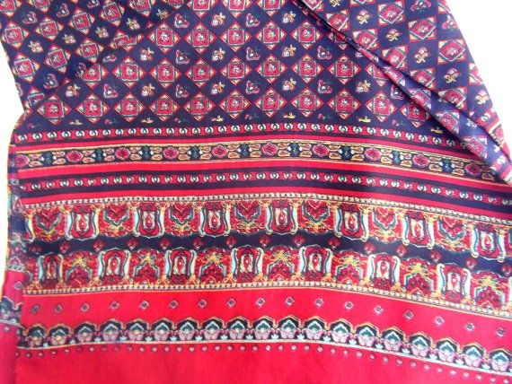 Silk vintage shawl burgundy and navy baroque print by CHEZELVIRE, $11.00