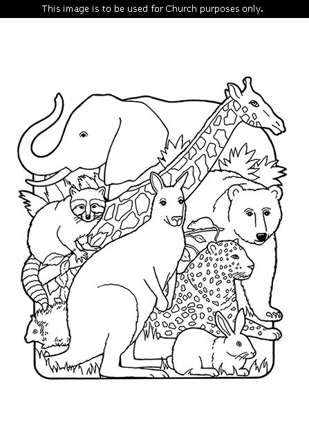 A black and white illustration of the creation of animals including an elephant picture schedulesbible coloring pagesan