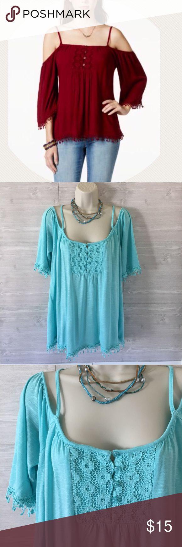 American Rag cie** top Adjustable strap, cold shoulder top. Aqua blue. Get ready for the summer! American Rag Tops